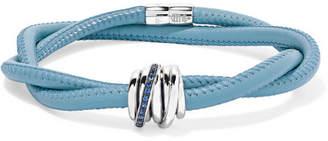 de GRISOGONO - Allegra Leather, 18-karat White Gold And Sapphire Bracelet