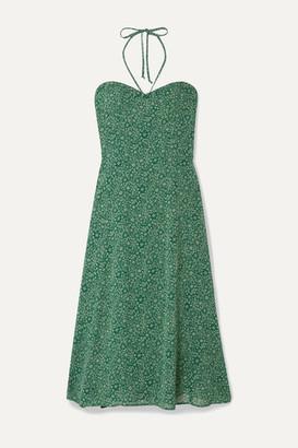 Reformation Harley Floral-print Crepe Halterneck Midi Dress - Forest green