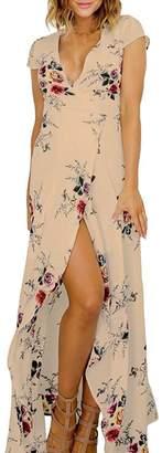 Soficy Women's Floral Tie Waist Split Wrap Flowy Party Long Beach Boho Maxi Dress L