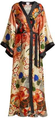 Camilla Floral Print Silk Satin Kimono Wrap Dress - Womens - Orange Multi