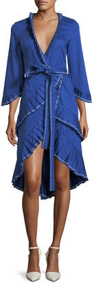 Alexis Hallie Wrap-Front Cotton Dress with Pleating Detail