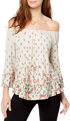 Style&Co. STYLE & CO. Petite Printed Off-The-Shoulder Flounce Top