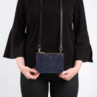 At Notonthehighstreet Icons Dark Horse Ornament Mini Glitter And Leather Clutch Crossbody Bag
