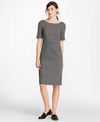 Brooks Brothers Petite Bird's-Eye Stretch-Wool Sheath Dress