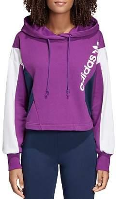 adidas Color-Block Cropped Hooded Sweatshirt