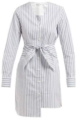 Tibi Liam Waist Tie Striped Cotton Shirtdress - Womens - Light Blue