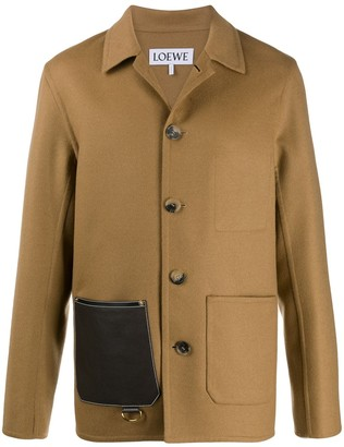 Loewe leather patch pocket button-up jacket