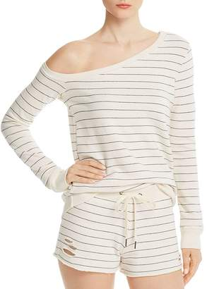 n:philanthropy Walker Striped One-Shoulder Sweatshirt