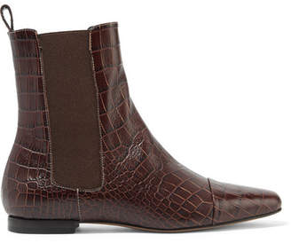 Trademark - Delphine Croc-effect Leather Ankle Boots - Chocolate
