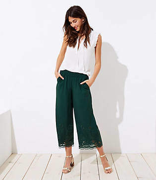 LOFT Eyelet Hem Wide Leg Crop Pants