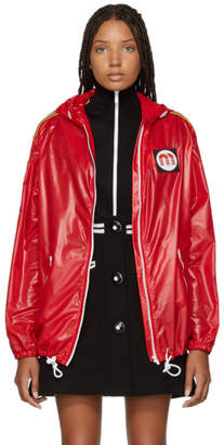 Miu Miu Red Nylon Logo Patch Jacket