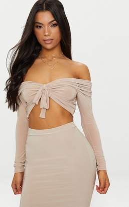 PrettyLittleThing Nude Slinky Knot Front Bardot Long Sleeve Crop Top