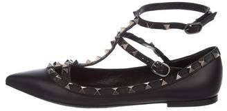 Valentino Leather Embellished Flats
