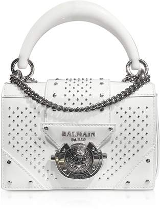 Balmain White Leather Top Handle Mini Bag