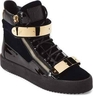 Giuseppe Zanotti Navy May London Velvet High-Top Sneakers