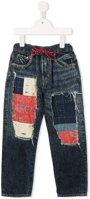 Denim Dungaree patch distressed jeans