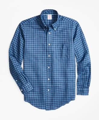 Brooks Brothers Madison Fit Gingham Irish Linen Sport Shirt