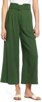 BP Belted Wide Leg Linen Blend Pants