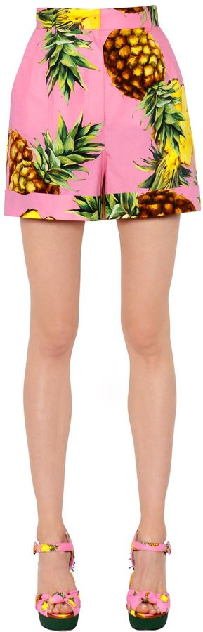 Dolce & Gabbana Pineapples Printed Cotton Poplin Shorts
