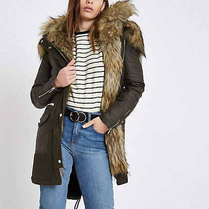 Womens Khaki faux fur trim parka coat