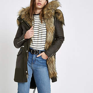 River Island Womens Khaki faux fur trim parka coat