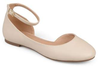 Brinley Co. Women's Faux Leather Wide Width Ankle Strap Round Toe D'orsay Flats
