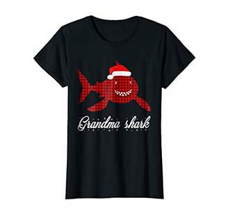 Womens Red Plaid Grandma Shark T-Shirt matching merry Christmas