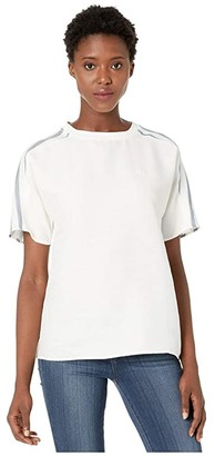 Lacoste Short Sleeve Fluid Cotton Blouse w/ Striped Sleeves
