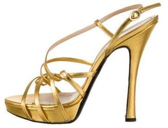 Pollini Metallic Leather Sandals