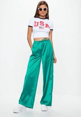 Missguided Green Satin Wide Leg Tie Waist Pants