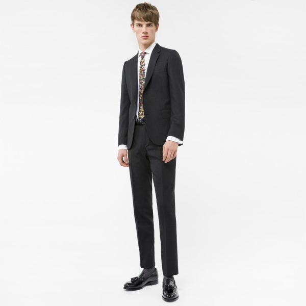 Paul Smith A Suit To Travel In - Men's Tailored-Fit Charcoal Wool Blazer