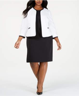 Le Suit Plus Size Piped Jacket & Sheath Dress Suit