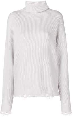 IRO ribbed roll-neck unravelled sweater