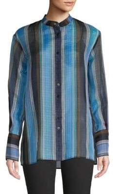 Diane von Furstenberg Striped Silk Button-Down Shirt