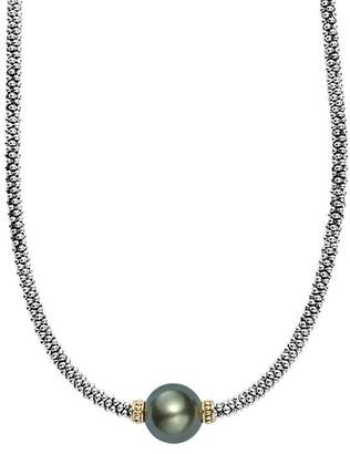 """Lagos 18K Gold and Sterling Silver Luna Cultured Tahitian Pearl Single Station Necklace, 16"""""""