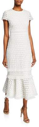 Shoshanna Floriana Short-Sleeve Midi Lace Flounce Dress