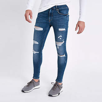 River Island Mid blue ripped super skinny spray on jeans