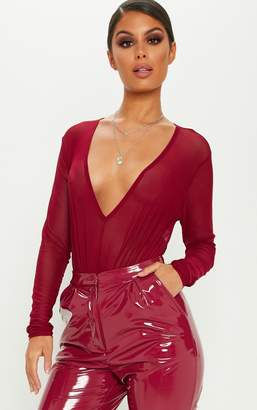 PrettyLittleThing Burgundy Plunge Mesh Long Sleeve Bodysuit