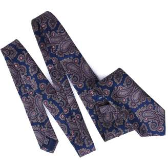 Serà Fine Silk - Navy Blue and Pink Paisley Printed Tie
