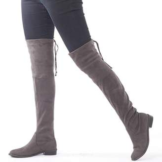 Feud Womens Over The Knee Boots Dark Grey