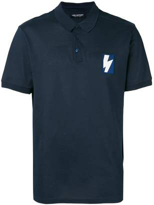 Neil Barrett thunderbolt patch polo shirt