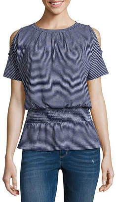Liz Claiborne Short Sleeve Round Neck Stripe T-Shirt-Womens