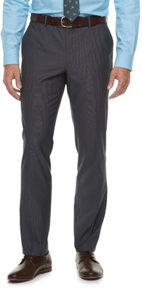 Savile Row Men's Slim-Fit Textured Charcoal Flat-Front Suit Pants