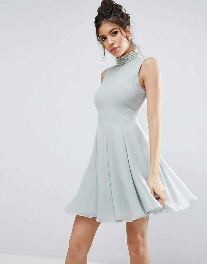 AsosASOS Pearl Embellished Paneled Seamed Mini Dress