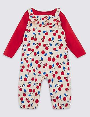 Marks and Spencer 2 Piece Cherry Dungarees & Bodysuit Outfit
