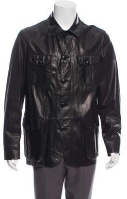 Armani Collezioni Leather Button-Up Jacket w/ Tags black Leather Button-Up Jacket w/ Tags