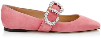Jimmy Choo GOODWIN FLAT Candyfloss Suede Pointed Toe Ballerina Flat with Jewelled Buckle