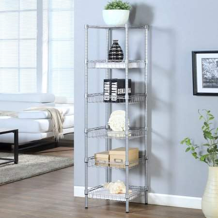 LANGRIA 6-Tier Wire Shelving Unit with Baskets, Sliver