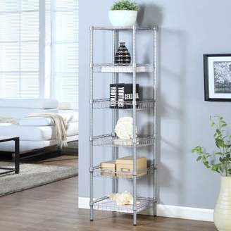 Laundry by Shelli Segal LANGRIA 6-Tier Bathroom Shelving Baskets Wired Storage Cart Corner Shelf Organization Utility Rack for Home Kitchen Living Room Bedroom Office, 198 lbs Capacity, Silver