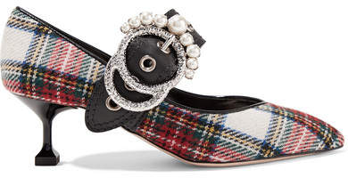 Miu Miu - Embellished Tartan Tweed Pumps - Red